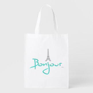 Bonjour (こんにちは)パリのフランス-エッフェル塔 買い物袋