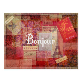 BONJOUR -パリ-フランス-フランス語-こんにちは ポストカード