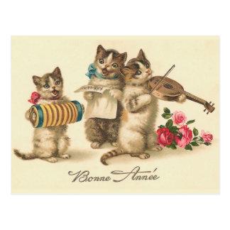 """""""Bonne Annee""""のヴィンテージのフランスのな新年の郵便はがき ポストカード"""