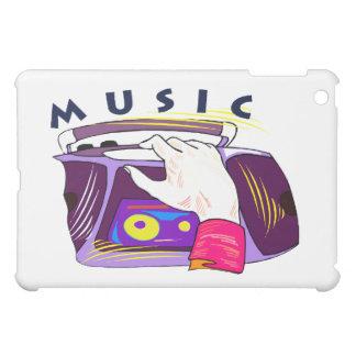 Boomboxのラジオおよび手のグラフィック、単語音楽 iPad Miniケース