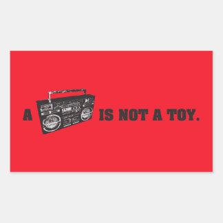 Boomboxはおもちゃではないです 長方形シール