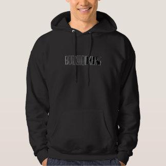 Boondockersの文字の黒のフード付 パーカ