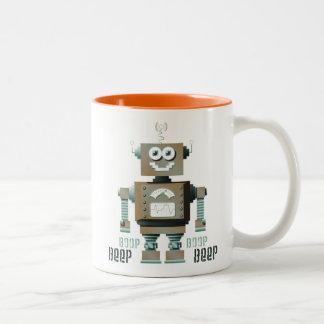 Boopの発信音のおもちゃのロボットマグ ツートーンマグカップ