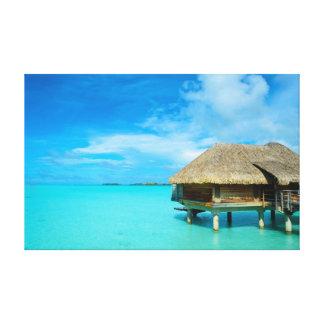 Bora BoraのキャンバスのプリントのOverwaterのバンガロー キャンバスプリント