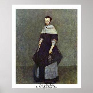 Borch D.J. Gerard Ter著女性のポートレート ポスター