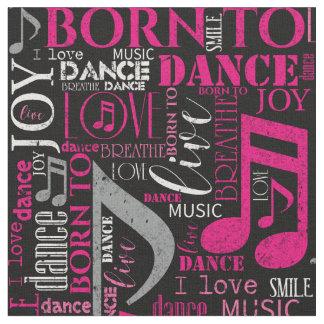 Born to Dance Pink/White ID277 ファブリック