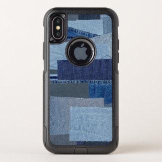 Boro Boro青いジーンのパッチワークのデニムShibori オッターボックスコミューターiPhone X ケース