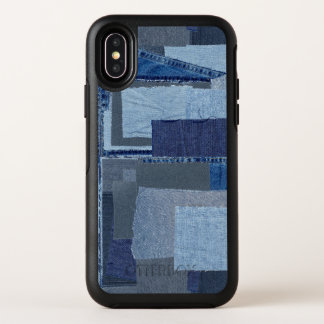 Boro Boro青いジーンのパッチワークのデニムShibori オッターボックスシンメトリー iPhone X ケース