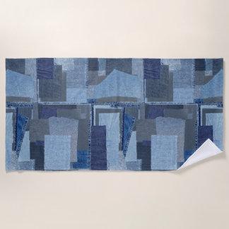 Boro Boro青いジーンのパッチワークのデニムShibori ビーチタオル