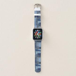 Boro Boro青いジーンのパッチワークのデニムShibori Apple Watchバンド