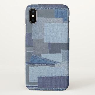 Boro Boro青いジーンのパッチワークのデニムShibori iPhone X ケース
