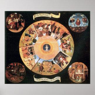 Bosc著7つの大罪の場面のテーブル ポスター