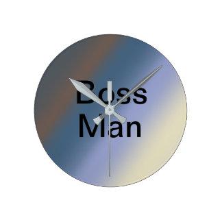 BOSS man silver/steel blue blends clock ラウンド壁時計
