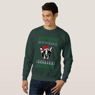 Boston Terrier Dog Ugly Christmas Ho Ho Ho スウェットシャツ