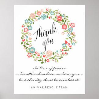 bothanical結婚式の印|の花柄|ありがとう ポスター