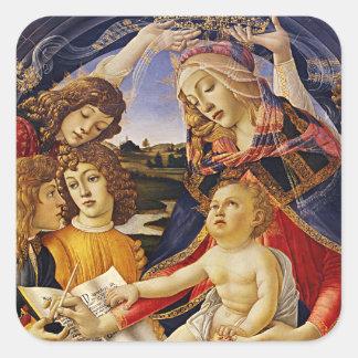 Botticelli著Magnificatのマドンナ スクエアシール