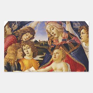 Botticelli著Magnificatのマドンナ 長方形シール
