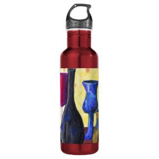 Bottlescape I -ルビー色の赤いゴブレット、金蜂蜜のポット ウォーターボトル