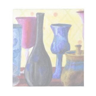 Bottlescape I -ルビー色の赤いゴブレット、金蜂蜜のポット ノートパッド