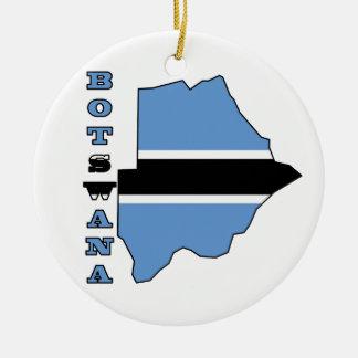 Botwanaの地図の旗 セラミックオーナメント
