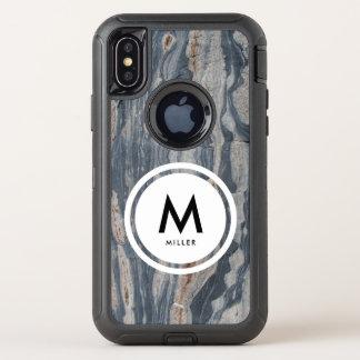 Boudinagedの石灰岩の石のモノグラム オッターボックスディフェンダーiPhone X ケース
