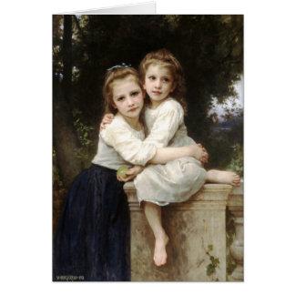 Bouguereauカードによる2人の姉妹のヴィンテージのファインアート カード