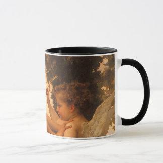 Bouguereau著キューピッドに対して彼女自身を守っている女の子 マグカップ