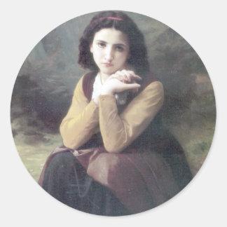 Bouguereau -華奢な沈痛 丸型シール