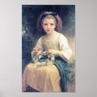 Bouguereau - Enfant Tressantのune Couronne ポスター