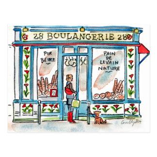 BOULANGERIE 28パリの水彩画 ポストカード