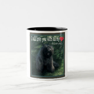 bouvier desのflandresの子犬 ツートーンマグカップ