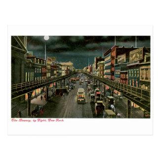 Bowery、夜までに、ニューヨーク。 型 ポストカード