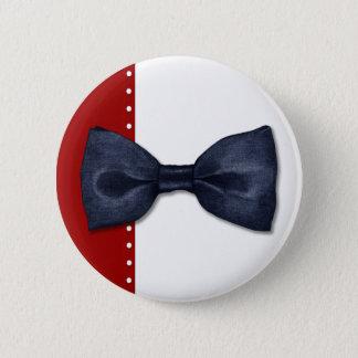 Bowtie黒いボタン 5.7cm 丸型バッジ