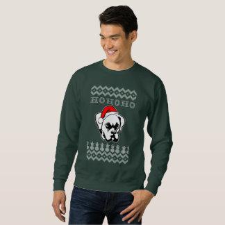 Boxer Dog Ugly Christmas Ho Ho Ho スウェットシャツ