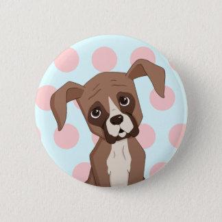 Boxer puppy on Pink Polka Dots 5.7cm 丸型バッジ