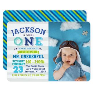 Boy 1st Birthday Invitation Photo Mr. ONEderful カード