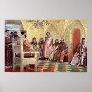 Boyarsを持つ皇帝Mikhail Fyodorovich ポスター