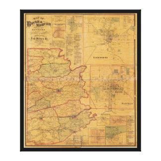 Boyleおよび呉服商郡ケンタッキー(1876年)の地図 キャンバスプリント