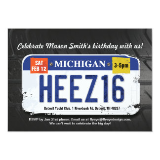 Boy's 16th Birthday Michigan License Invitation カード
