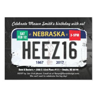 Boy's 16th Birthday Nebraska Invitation カード
