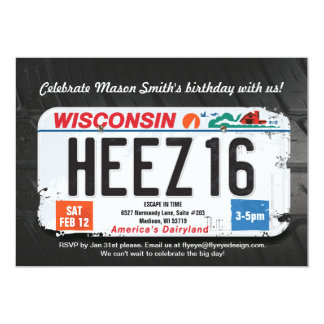 Boy's 16th Birthday Wisconsin License Invitation カード