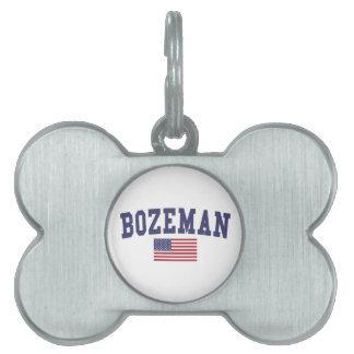 Bozeman米国の旗 ペットネームタグ