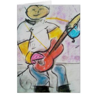 Brad Hines著ギター奏者のパステル調のメッセージカード カード