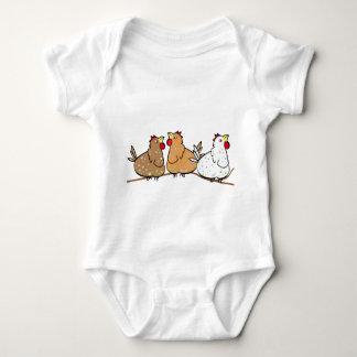 Brancheの3羽の鶏-ベビーのTシャツ ベビーボディスーツ