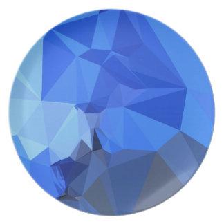 Brandeisの青の抽象芸術の低い多角形の背景 プレート