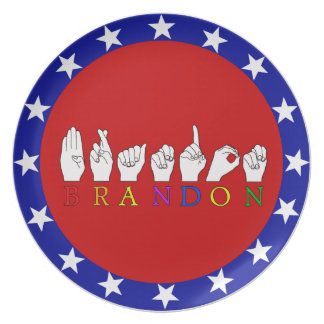 BRANDON FINGERSPELLED ASLの印 プレート