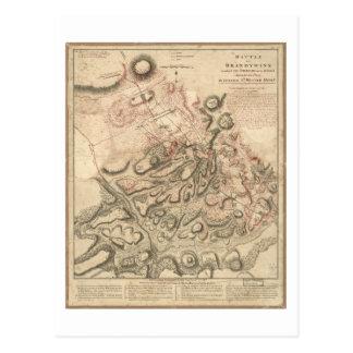 Brandywineの地図(1777年)の革命的な戦争の戦い ポストカード