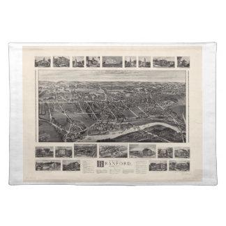 Branfordコネチカット(1905年)の鳥瞰的な眺めの地図 ランチョンマット