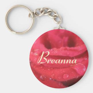 Breannaの赤いバラの花びらの一流のギフト キーホルダー