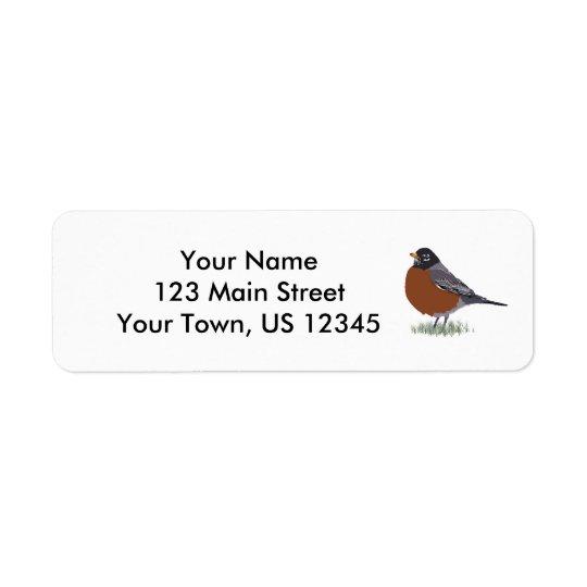 Breastedのアメリカ人のロビンの赤いデジタルによって描かれる鳥 返信用宛名ラベル
